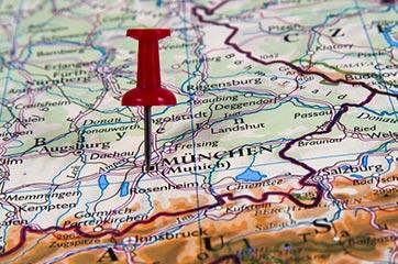 Kartenausschnitt mit Pin auf München
