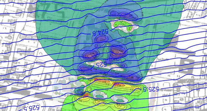 Karte mit Höhenlinien